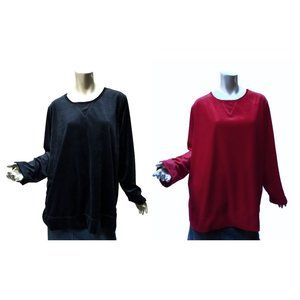Plus Size Woman Within LOT of 2 Velour Tops Size 1X Black and Red Pullovers